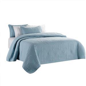 Ens. de courtepointe, très grand lit, polyester, bleu, 3 mcx