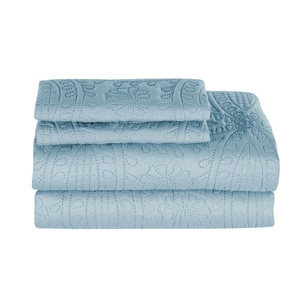 Ens. de courtepointe, grand lit, polyester, bleu, 3 mcx