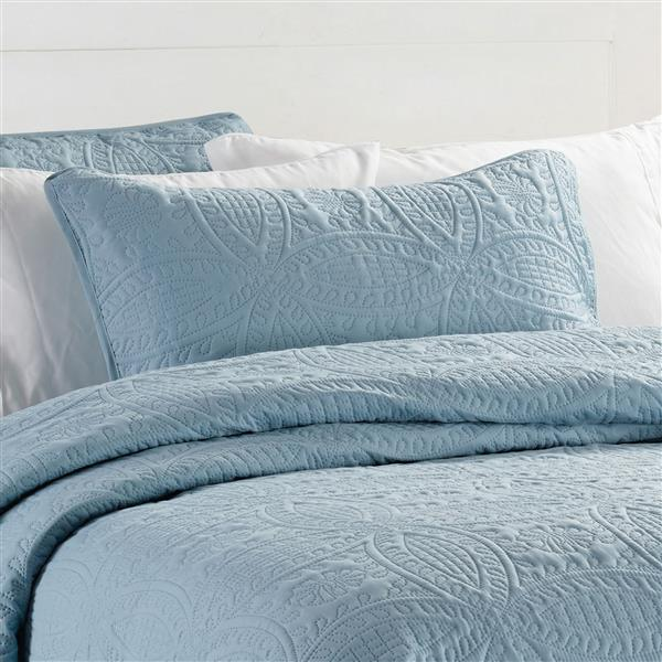 Millano Collection Blue Polyester 3 Piece Queen Quilt Set