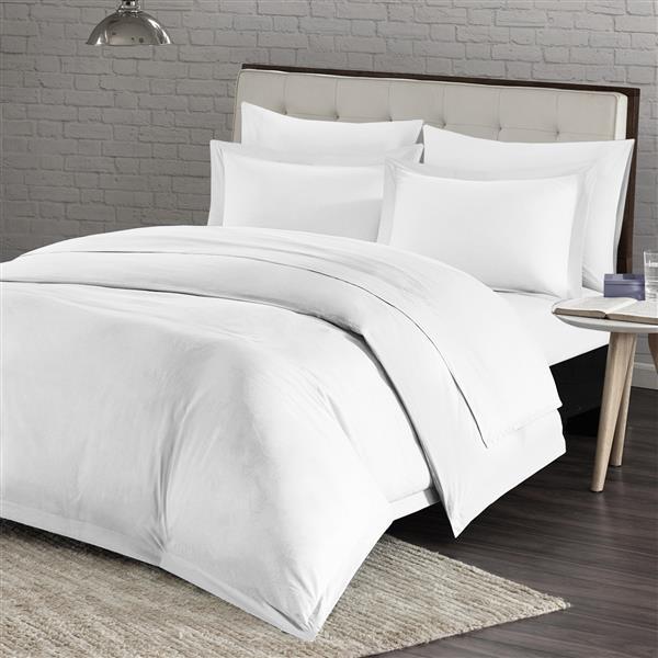 Housse de couette Milano, grand lit, blanc, 4 pièces