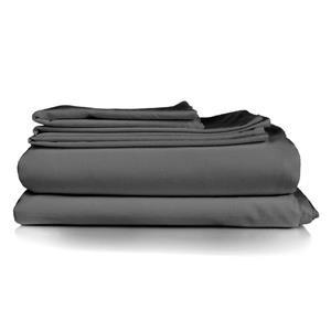 Housse de couette Milano, grand lit, gris, 4 pièces