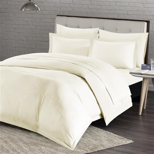 Housse de couette Milano, très grand lit, ivoire, 4 pièces