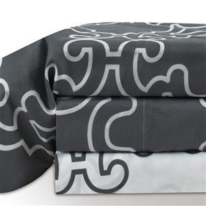 Ens. de draps Vista, lit double, polyester, 4 pièces