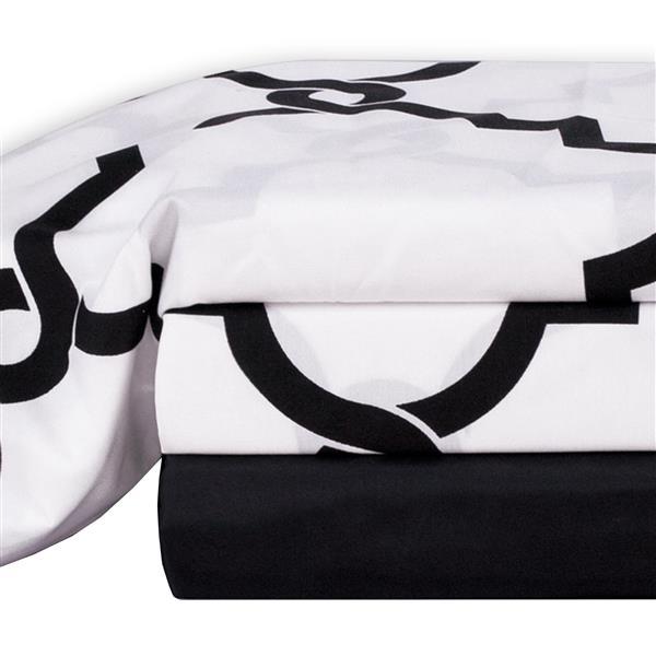 Ens. de draps Tesla, très grand lit, polyester, 4 pièces