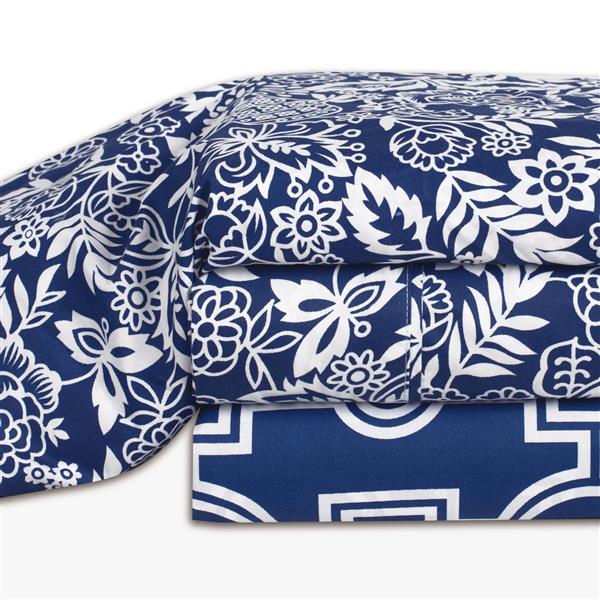 Ens. de draps Somerset, très grand lit, polyester, 4 pièces