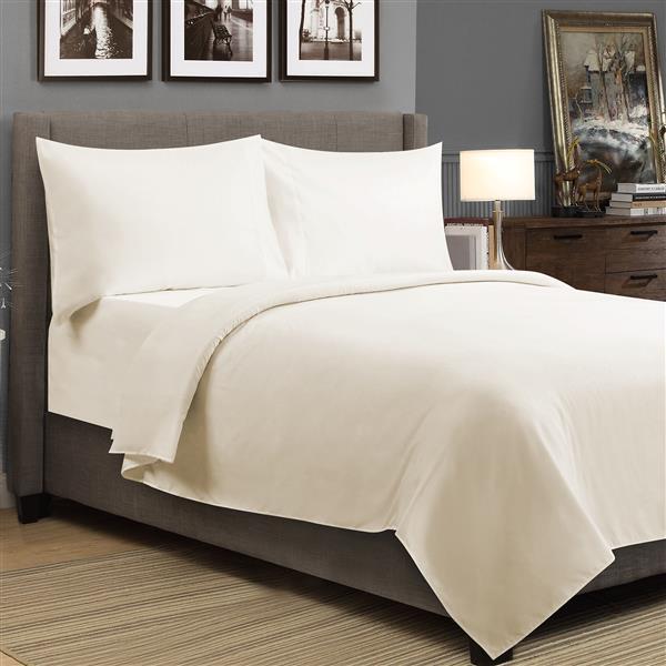 Ens. de draps Milano, très grand lit, coton, 4 pièces