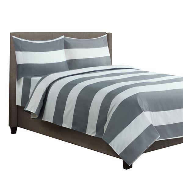 Ens. de draps Hamshire, lit simple, polyester, 6 pièces