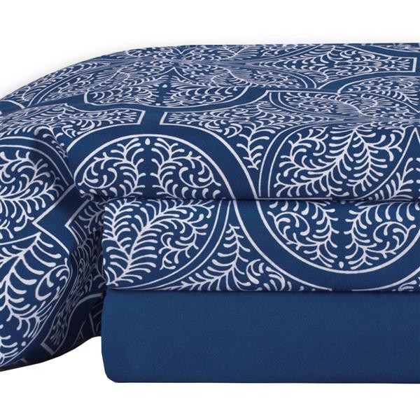 Ens. de draps Dynasty, lit double, polyester, 4 pièces