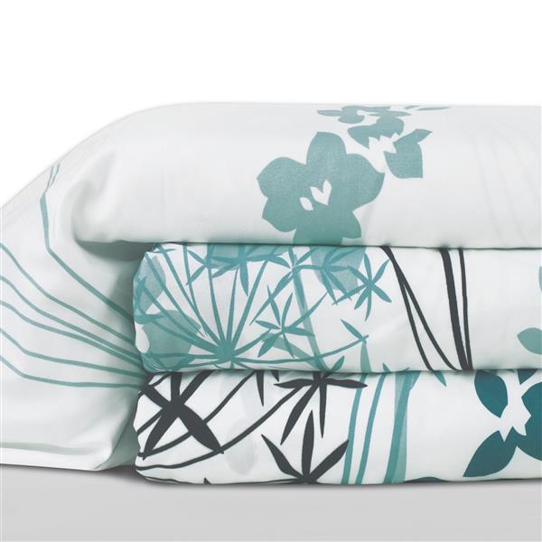 Ens. de draps Dahlia, lit double, polyester, 8 pièces