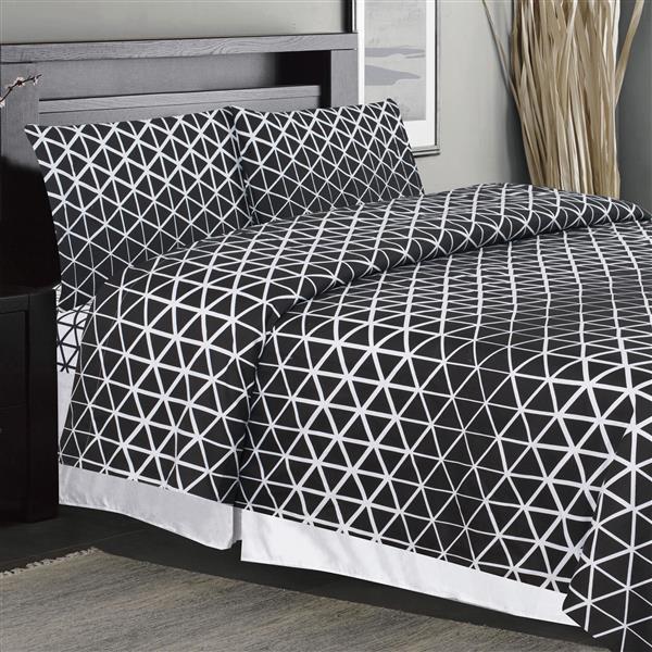 Ens. de draps Pearce, très grand lit, polyester, 4 pièces