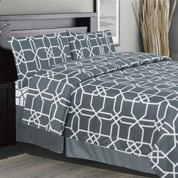 Ens. de draps Chandler, très grand lit, polyester, 4 pièces