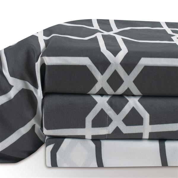 Millano Concord Polyester Multiple Colours Queen Sheet Set (4 Pieces)