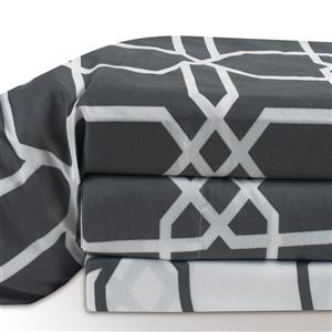 Ens. de draps Chandler, grand lit, polyester, 4 pièces