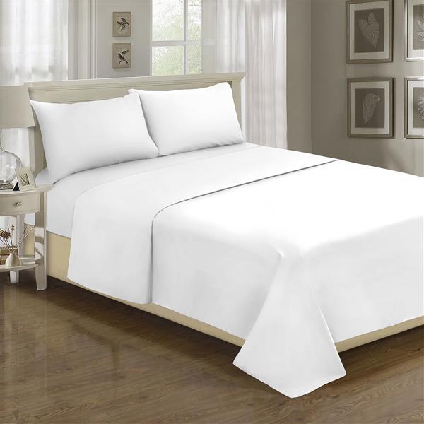 Ens. de draps Spa, grand lit, polyester, 4 mcx