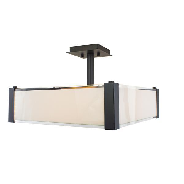 "Semi-plafonnier Verona à 3 lumières, Bronze, 17"""