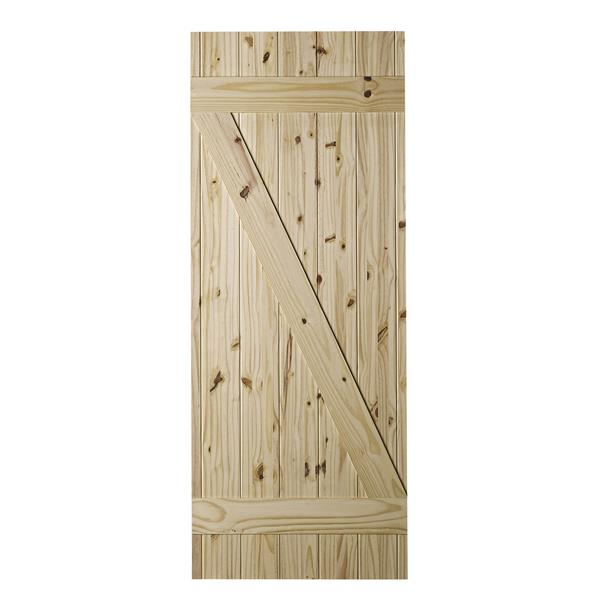 Colonial Elegance 33-in x 84-in Natural Pine Cellar Barn Door