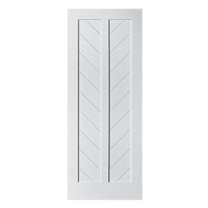 Colonial Elegance 33-in x 84-in White Chevron Barn Door