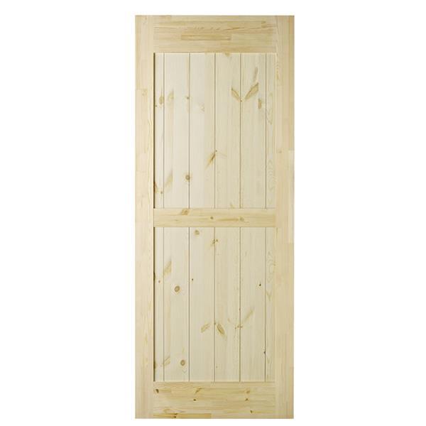 Colonial Elegance 33-in x 84-in Natural Pine Ranch Barn Door