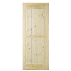 Colonial Elegance 33-in x 84-in Natural Pine Ranch Barn Door