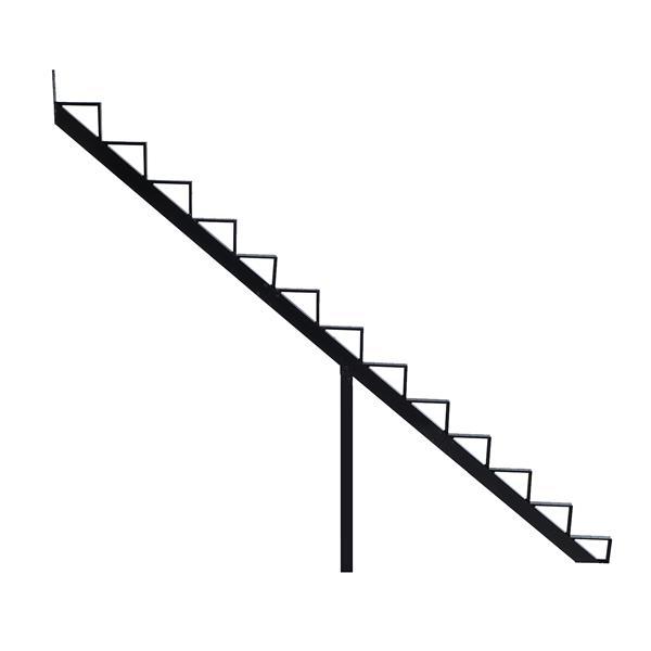 "Rebord d'escalier 13 marches, 7,5"" x 9"", aluminium, noir"