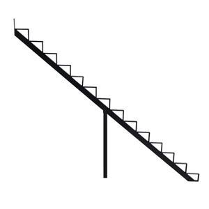"Rebord d'escalier 14 marches, 7,5"" x 9"", aluminium, noir"