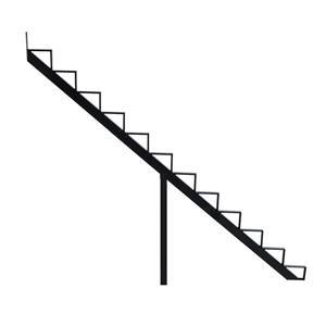 "Rebord d'escalier 12 marches, 7,5"" x 9"", aluminium, noir"