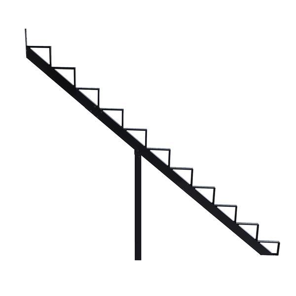 "Rebord d'escalier 11 marches, 7,5"" x 9"", aluminium, noir"