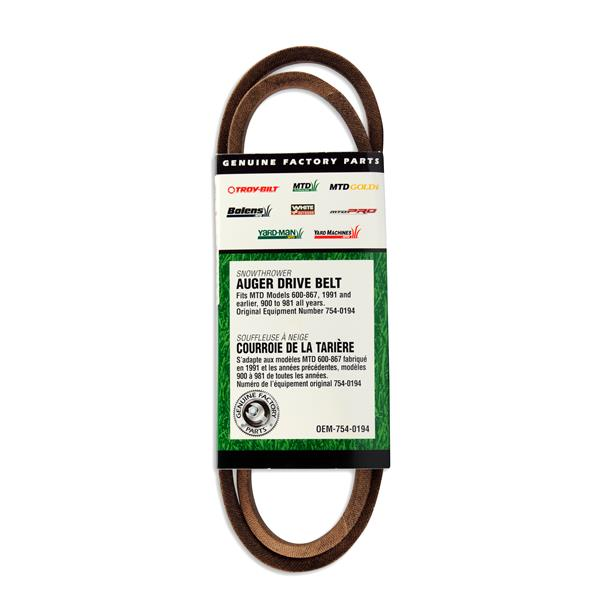 MTD Genuine Parts 0.5-in Auger Drive Belt for Snowblowers 800 Series