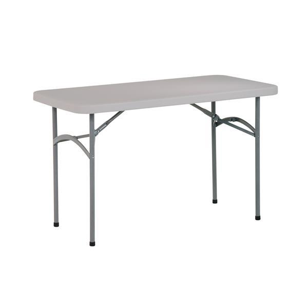 """Table pliante rectangulaire, 48"""", gris"""