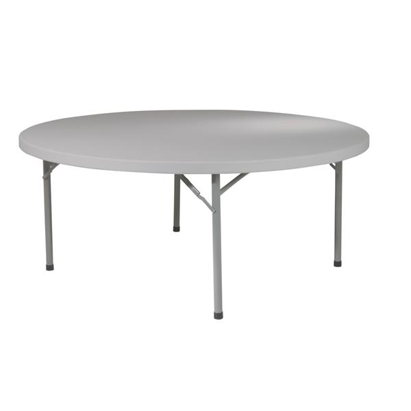 "Table pliante ronde, 71"", gris"