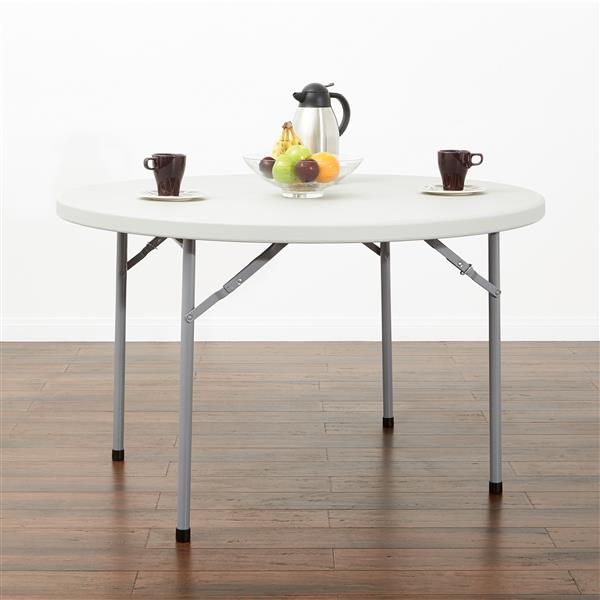Round Folding Table 48-in Grey