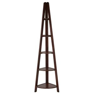 Corner Ladder Bookcase 5 Shelves 72-in x 20.25-in x 13.75-in Espresso
