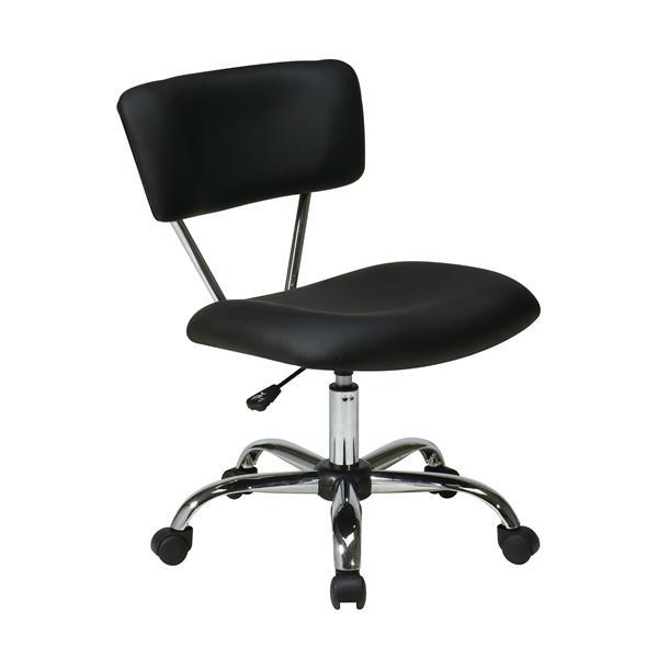 """Chaise de bureau Vista, vinyle noir, 20.75"""""""