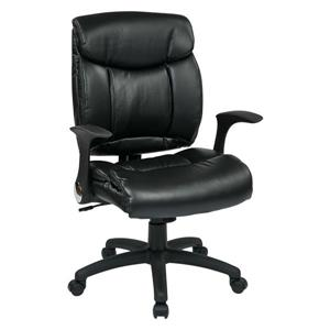 Work Smart™ 22.75-in x 20.75-in Black Faux Leather Chair with Flip Arms
