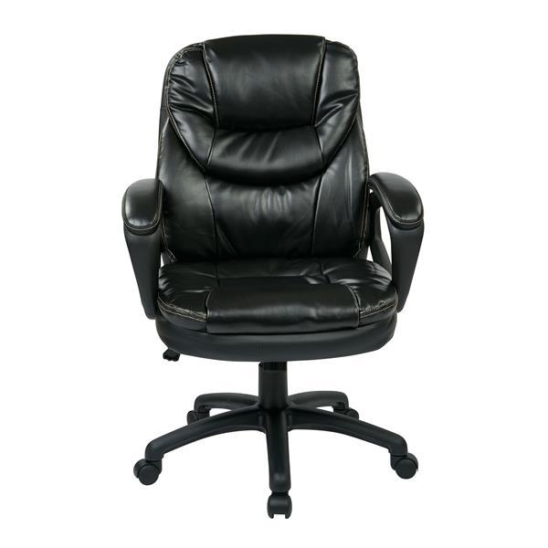 Chaise en faux cuir noir avec bras rembourrés, noir