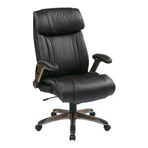 Lather Chair with Adjustable Arms - Brown