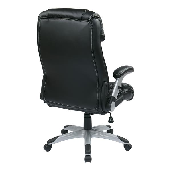 Black Leather Chair with Adjustable Arms