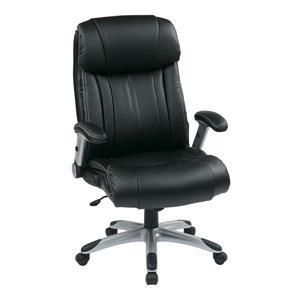 Chaise en cuir à bras réglables, noir