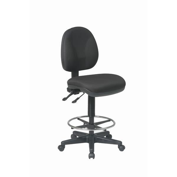 Work Smart™ 26.50-in x 18.50-in Black Ergonomic Drafting Chair