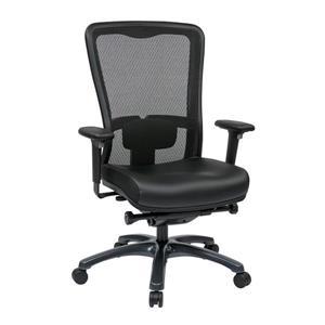 Chaise à dossier haut en cuir, noir