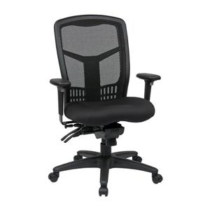 High Back Chair with Adjustable Arms - Black