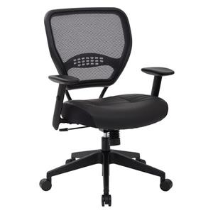 Office Chair with Leather Seat - Black