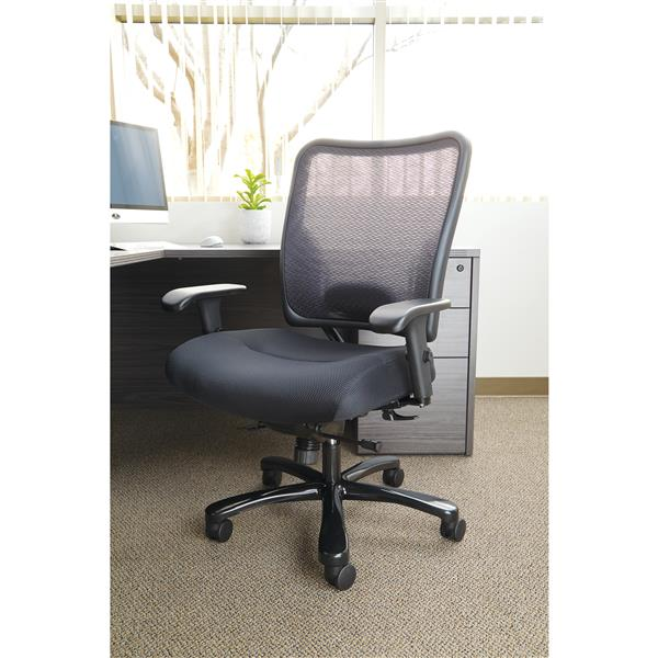 Space Seating® 26.63-In x 21.75-In Black Ergonomic Office Chair