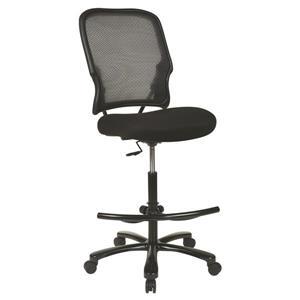 Chaise de dessinateur avec dossier en filet, noir