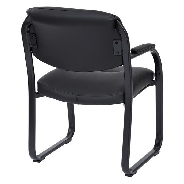 """Chaise d'appoint, similicuir noir, 33"""" x 24"""""""