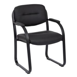 Chaise d'appoint, similicuir noir, 33