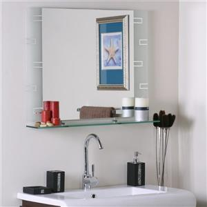 Decor Wonderland Frameless Polished Rectangular Mirror 31.5-in x 23.6-in
