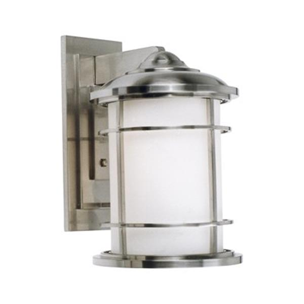 Feiss Lighthouse 9-in x 11-in Brushed Steel Outdoor Sconce