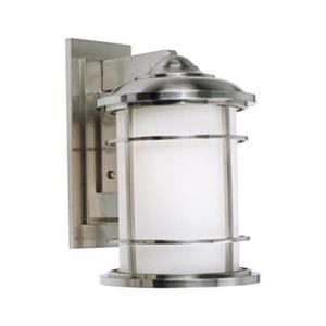 Feiss Lighthouse 9-in x 11-in Brushed Steel Outdoor Sconce.