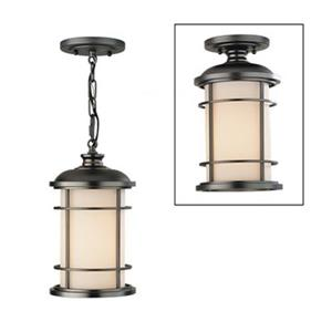 Feiss Lighthouse Collection 7-in x 12-in Burnished Bronze Cylinder Semi Flush Pendant Light.